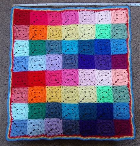 Baby Patchwork Blanket - square crochet blanket multi coloured throw
