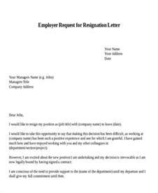 Request Resignation Acceptance Letter Format 30 Resignation Letter Exles