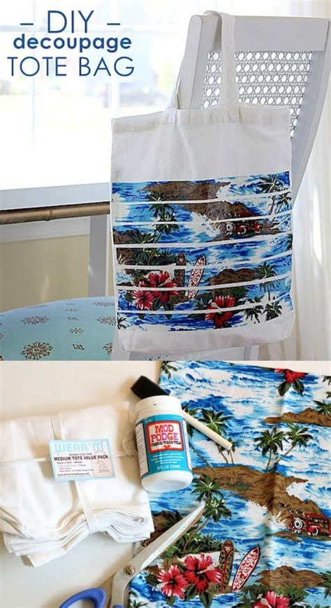 Can You Decoupage With Fabric - diy tote with mod podge bags beaches and fabrics