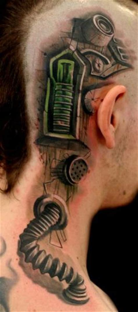 biomechanical neck tattoo biomechanical head neck tattoo by speak in color