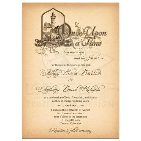 Wedding Invitation Time Wording by Tale Wedding Invitation Castle Once Upon A Time