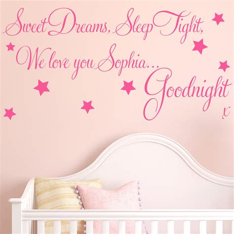 Large Childrens Wall Stickers personalised sweet dreams baby childrens wall sticker decals