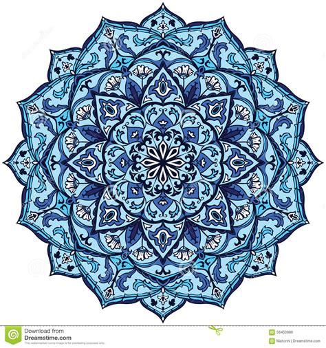 blue mandala pattern vintage blue mandala stock vector image 56450988