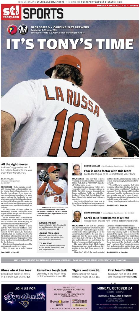 st louis post dispatch sports section yet one more world series poster front by the st louis