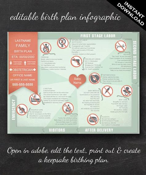 The 25 Best Birth Plan Printable Ideas On Pinterest Pregnancy Hospital Bag Checklist Editable Birth Plan Template