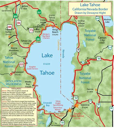 california map lake tahoe lake tahoe my california fishing boat list