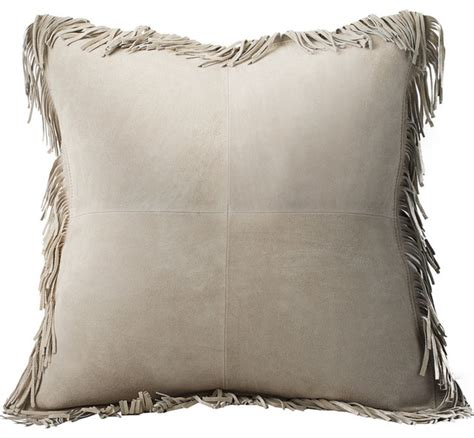 decorative pillows with fringe coronado suede with fringe feather pillow