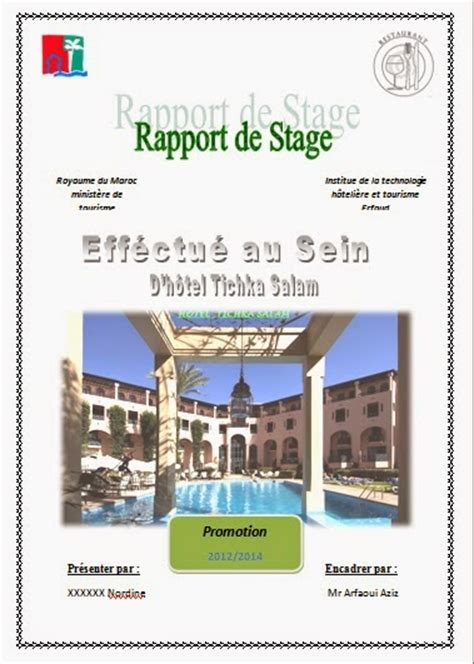 rapport de stage en cuisine exemple modele rapport de stage hotellerie document