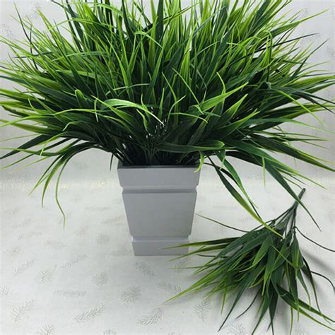 decorative plants for home 2016 new 7 fork green grass artificial plants for plastic