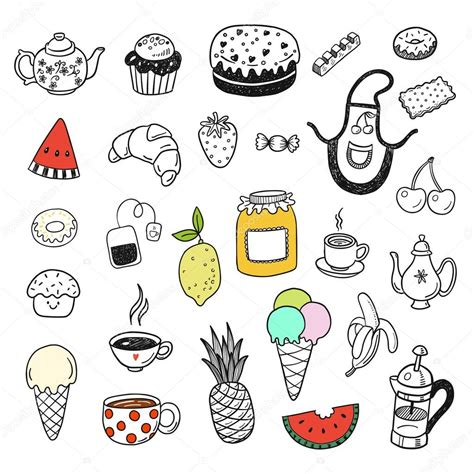 fast food doodle vector doodle fast food set stock vector 169 teploleta 118914726