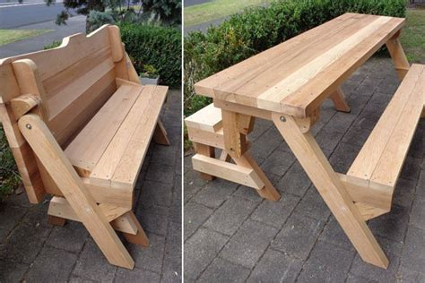 foldable picnic table bench one piece folding bench and picnic table plans downloadable