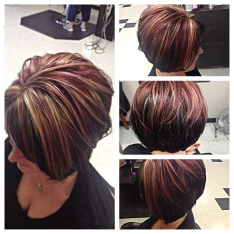 red hair with highlights and lowlights asymmetrical bob by courtney curtis and highlights