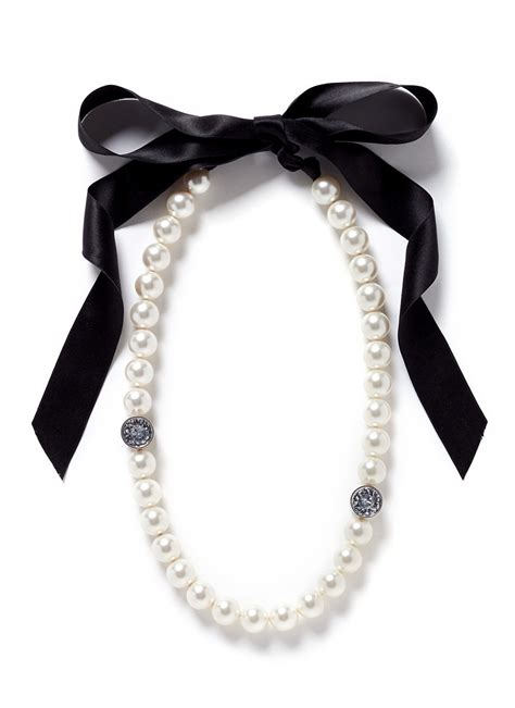 Black Pearl Pendant Ribbon Necklace lanvin pearl strand satin ribbon necklace in white lyst
