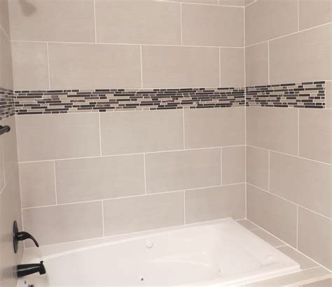 bathroom remodel glass tile accent 12 x 24 wide plank