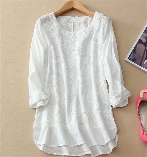 30779 White Cotton Blouse 2015 newly summer three quarter sleeve cotton blouse white embroidery shirt