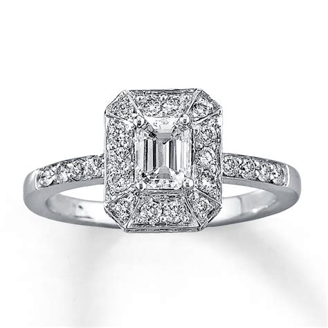 engagement ring 1 ct tw emerald cut 14k