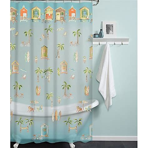 beach bathroom shower curtains peva cabana beach shower curtain bed bath beyond