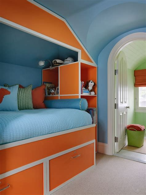 orange and blue rooms built in bed contemporary boy s room benjamin moore