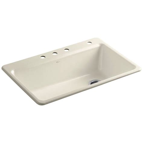 Single Bowl Cast Iron Kitchen Sink Kohler Riverby Drop In Cast Iron 33 In 4 Single Bowl Kitchen Sink Kit With Accessories In