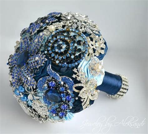 Wedding Bouquet Navy Blue by Royal Blue Wedding Brooch Bouquet Bridal Bouquet Navy