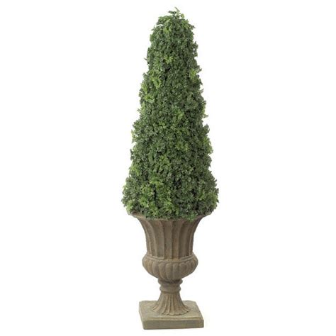 faux topiary outdoor 53 inch artificial outdoor ming aralia cone topiary