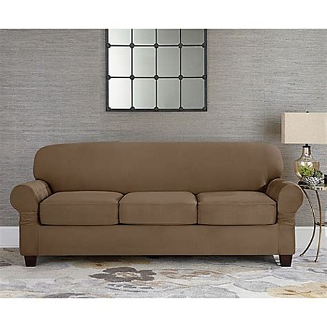 slipcover for 3 cushion sofa sure fit 174 designer suede individual cushion 3 seat sofa slipcover bed bath beyond