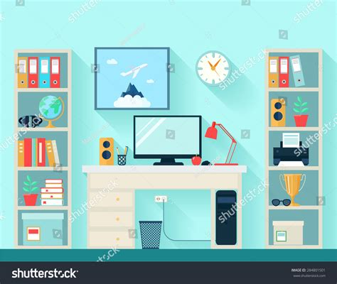 Designer Clock by Workspace Room Computer Table Bookshelves On Stock Vector