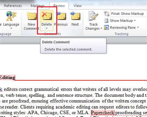 remove sections in word microsoft remove editor comments word 2010