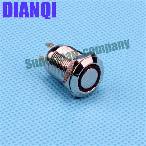 Saklar Push On Nikel 12 Mm 12mm flat ring illumination push button momentary 1no nickel plated brass metal push press