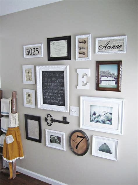living room gallery wall behind the red barn door gallery wall