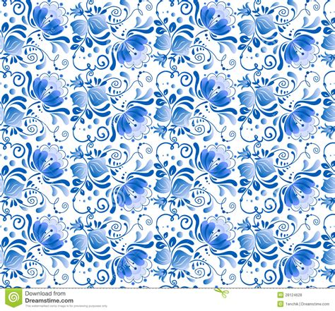 floral pattern in blue russian national blue floral pattern royalty free stock