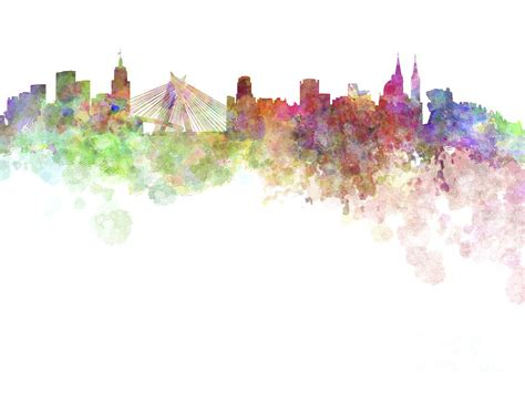 sao paulo skyline in watercolor on white background painting by pablo romero