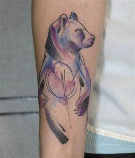 tattoo animal abstract abstract watercolor style bear tattoo on the forearm