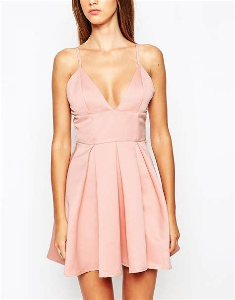 Dress Satin lyst missguided satin plunge skater dress in pink