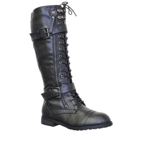 womens knee high lace up army combat boots size 3