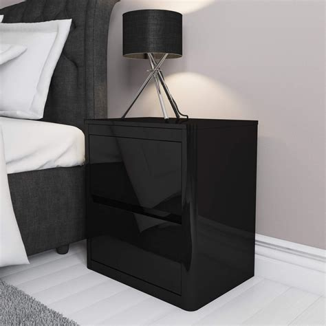 bedroom furniture bedside cabinets 2 drawer bedside table black high gloss effect bedroom