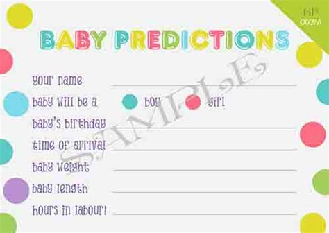 baby shower prediction cards template kydepiperdesigns co nz prediction cards