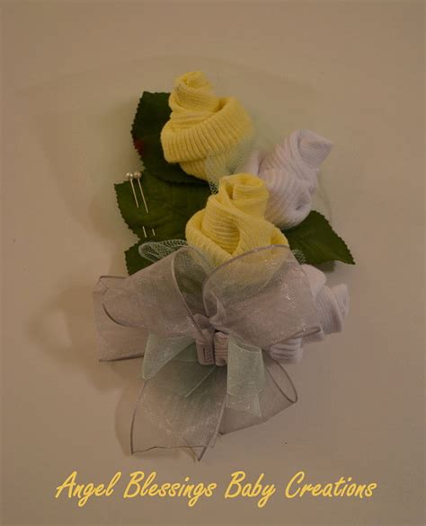 Unique Baby Shower Corsages by Baby Sock Corsage Gender Neutral To Be Baby Shower