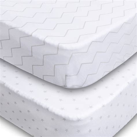 Crib Mattress Fitted Sheet 7 Crib Sheets 2 Pack Fitted 100 Soft Jersey Cotton Sheet Bedding With Unisex Chevron