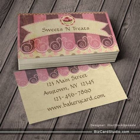 Free Pastry Business Cards Templates by Taupe Pink Cupcake Bakery Business Card Bakery Business