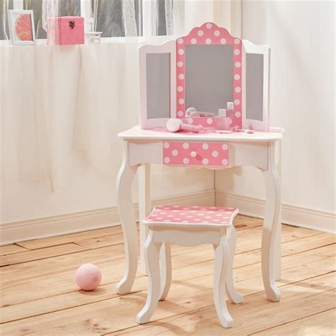 teamson fashion prints polka dot vanity table and