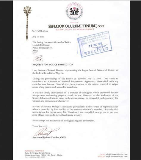 Petition Senators Letter Senator Tinubu Writes Petition To Ig Dino Melaye See The Petition