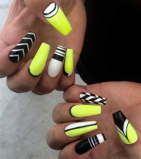 Neon Nail by Neon Yellow Black White Nail Nail