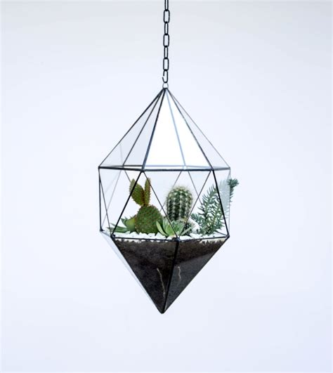 geometric hanging planter hanging glass terrarium large geometric planter stained
