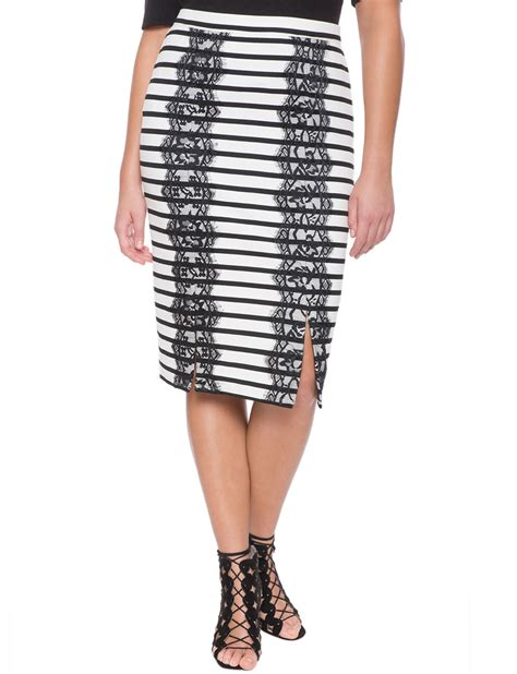 Striped Lace Trim striped lace trim skirt s plus size skirts eloquii