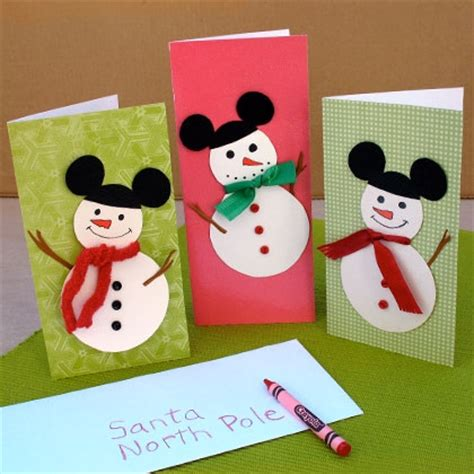 mickey mouse snowmen cards disney family