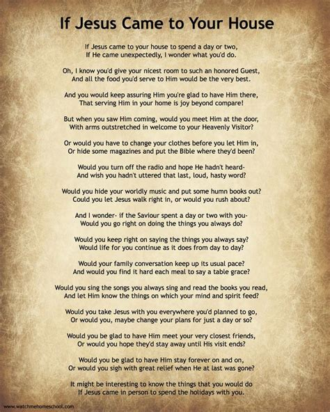 if jesus came to your house poem that was one of my s