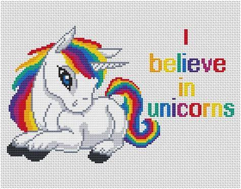 unicorn needlepoint pattern quotes cross stitch i believe in unicorns rainbow by