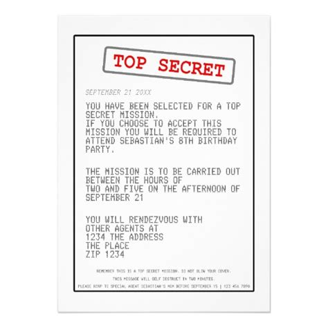Secret Card Template by Top Secret Special Card Zazzle