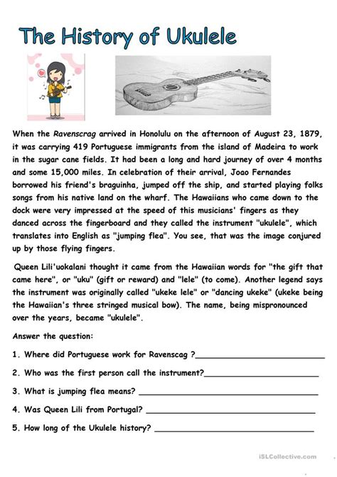 The History Of For Worksheet history of ukulele worksheet free esl printable